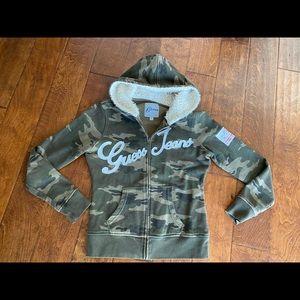 GUESS camo zip hoodie sweatshirt women
